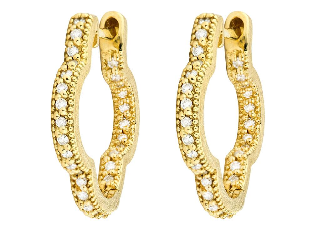 Jude Frances Pavé Diamond Hoop Earrings in 18K Gold