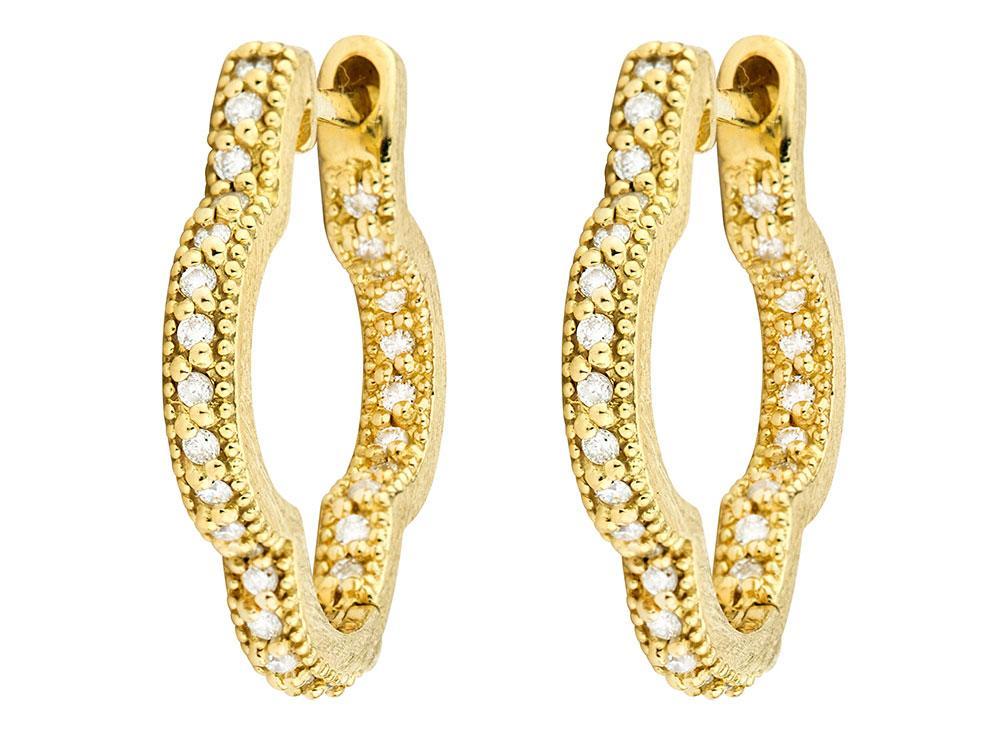 Jude Frances Pavé Diamond Hoop Earrings in 18K Gold BDI2VIJWY