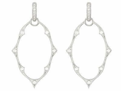 The moroccan earring charm frames feature 18k white gold with pave set round diamonds. wear earring charms frames alone or along with any number of judefrances hoops and earring charms.