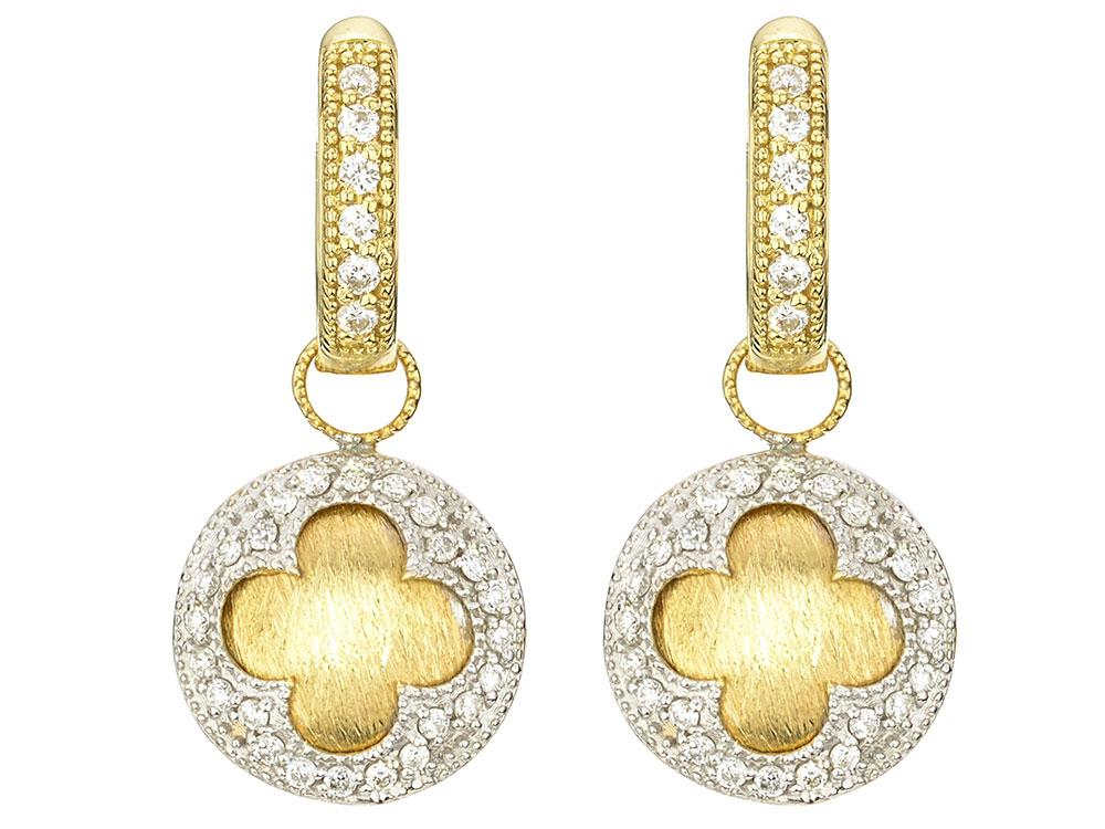 The Circle Clover Pave Earring Charms Feature 18k Yellow Gold With Round Diamonds Set In