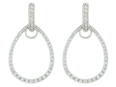 The classic pave tear drop earring charm frames feature 18k white gold with pave round diamonds. wear earring charms frames alone or along with any number of judefrances hoops and earring charms.