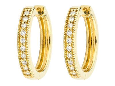 The camelia hoop earrings feature sparkling diamonds pave set in 18k yellow gold.