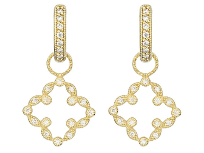 The pave open clover marquis earring charms feature 18k yellow gold with pave round diamonds in an open clover motif.