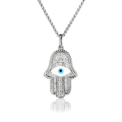 18K White Gold mandala hand pendant with exotic eye centerpiece and 0.38K Diamond inlay, featured on a white gold fine rolo style chain. Pendant and chain sold together.