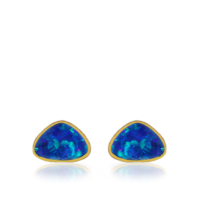 2.93/2 Doublet Opal Triangle Earrings mounted on a 14K Yellow Gold base.