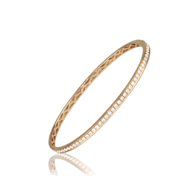 "18K Rose Gold Bracelet inlayed in its entirety with 83 Diamonds at 1.51 CT. Interlocking Clasp. Width 2.25"" Height 1.75"" 8.57 Grams"