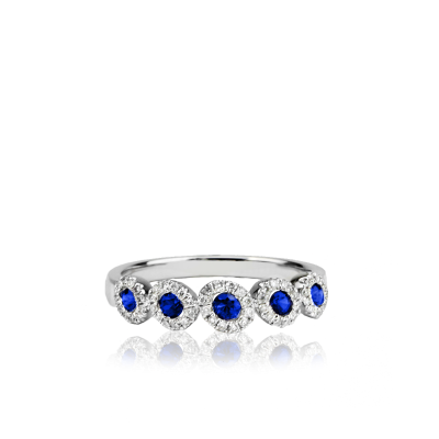 14K White Gold band featuring 60 Round Cut Diamonds at 0.19CT surrounding 5 Sapphires at 0.30CT.