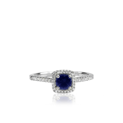 18K White Gold with 0.49CT Blue Sapphire and 42 surrounding Diamonds 0.15CT