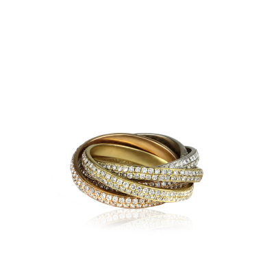 Stunning interlocked stacked ring set, featuring with 18K White Gold, 18K Yellow Gold, and 18K Rose Gold bands all inlayed entirely with 4.5 CT Diamonds.
