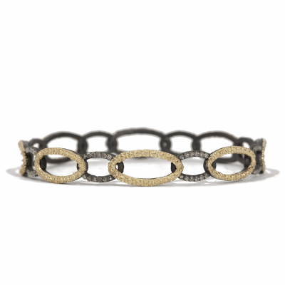 Blackened sterling silver and 18k yellow gold open circle-link bangle with white diamonds. Diamond Weight 0.384 ct.
