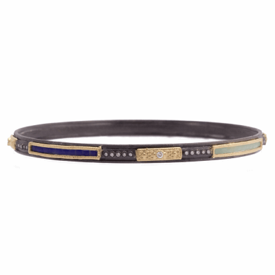 Old World blackened sterling silver and 18k yellow gold skinny bangle bracelet with Glass Mosaic plaques and white diamonds. Diamond Weight 0.24ct