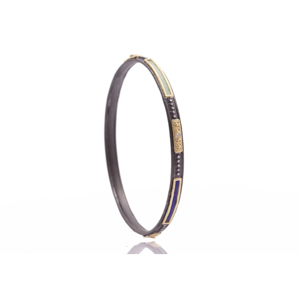 Glass Mosaic Skinny Bangle Bracelet - alternate