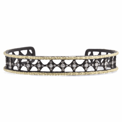 Old World oxidized sterling silver and 18k yellow gold crivelli cuff bracelet with white diamonds. Diamond Weight 0.47ct