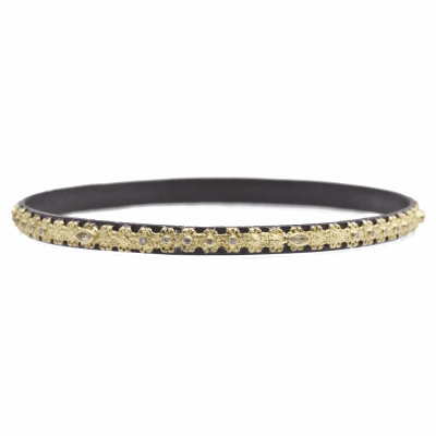 Old World oxidized sterling silver and 18k yellow gold carved bangle bracelet with white diamonds and white sapphires. Diamond Weight 0.12ct