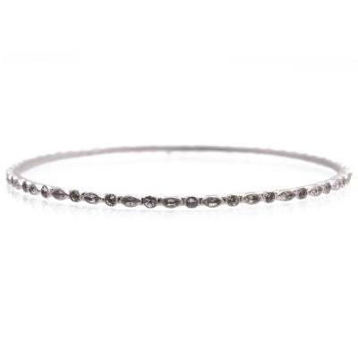 New World sterling silver and blackened sterling silver eternity marquis and round white sapphire bangle bracelet
