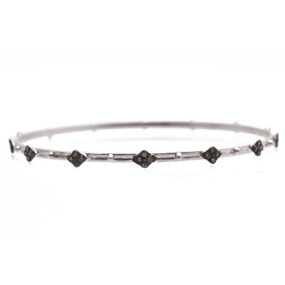New World sterling silver and blackened sterling silver crivelli bangle bracelet with champagne diamonds. Diamond Weight 0.22ct