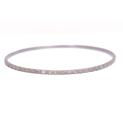 Sterling silver vintage finish eternity bangle with champagne diamonds.  Diamond Weight 1.4 ct.