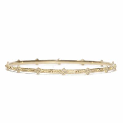 18k Yellow gold crivelli station bangle with white diamonds. Diamond Weight  0.224 ct.