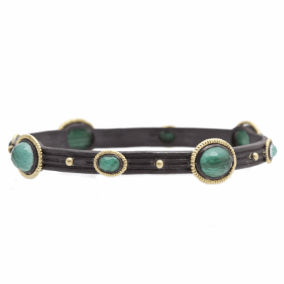 Old World blackened sterling silver and 18k yellow gold wide roped bangle bracelet with Malachite/Blue Topaz doublet.