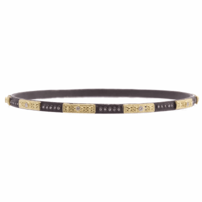 Old World blackened sterling silver and 18k yellow gold skinny square-motif bangle bracelet with white diamonds. Diamond Weight 0.4ct