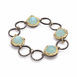 Closeup image for View Roped Wide Bangle Bracelet With Blue Turquoise Doublet By Armenta