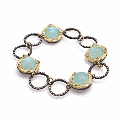 Old World oxidized silver and 18k yellow gold circle link bracelet with 12mm round Blue Turquoise/Rainbow Moonstone doublets and diamonds