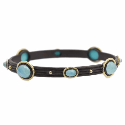 Old World oxidized sterling silver and 18k yellow gold roped round wide bangle bracelet with Blue Turquoise/Rainbow Moonstone doublets.