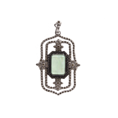 New World sterling silver and blackened sterling silver large open rectangle scrolled enhancer with Chrysoprase/Rainbow Moonstone doublet and champagne and black diamonds. Diamond Weight 0.96ct