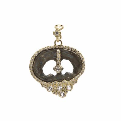 Sueno 18k yellow gold open oval artifact enhancer with white diamonds and white sapphires. Diamond Weight 0.26ct