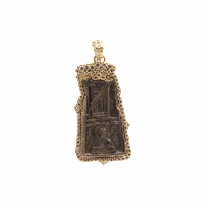 Sueno 18k yellow gold rectangle/free-form ancient artifact enhancer with champagne diamonds. Diamond Weight 0.46ct