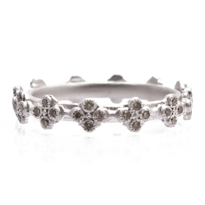 New World sterling silver and blackened sterling silver Gypsy multi-crivelli stack ring with champagne diamonds. Diamond Weight 0.19ct
