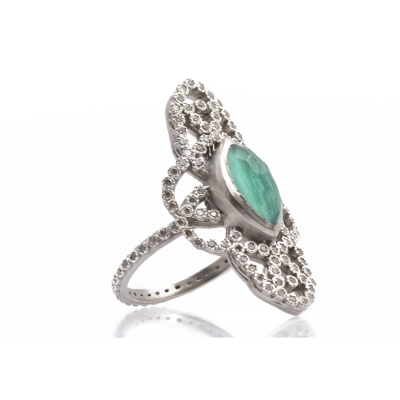 New World sterling silver vintage finish elongated scroll marquis Malachite/Blue Topaz doublet ring with champagne diamonds. Diamond Weight 0.47ct