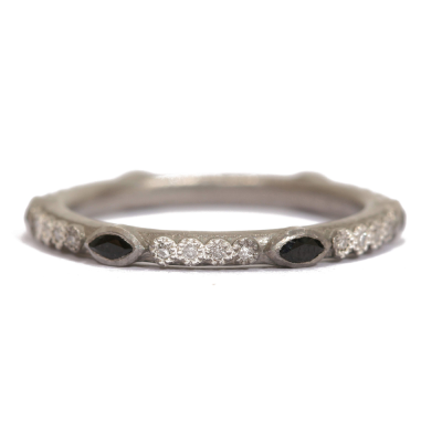Sterling silver vintage finish marquis stack ring with white diamonds and blue sapphires.  Diamond Weight 0.096 ct.