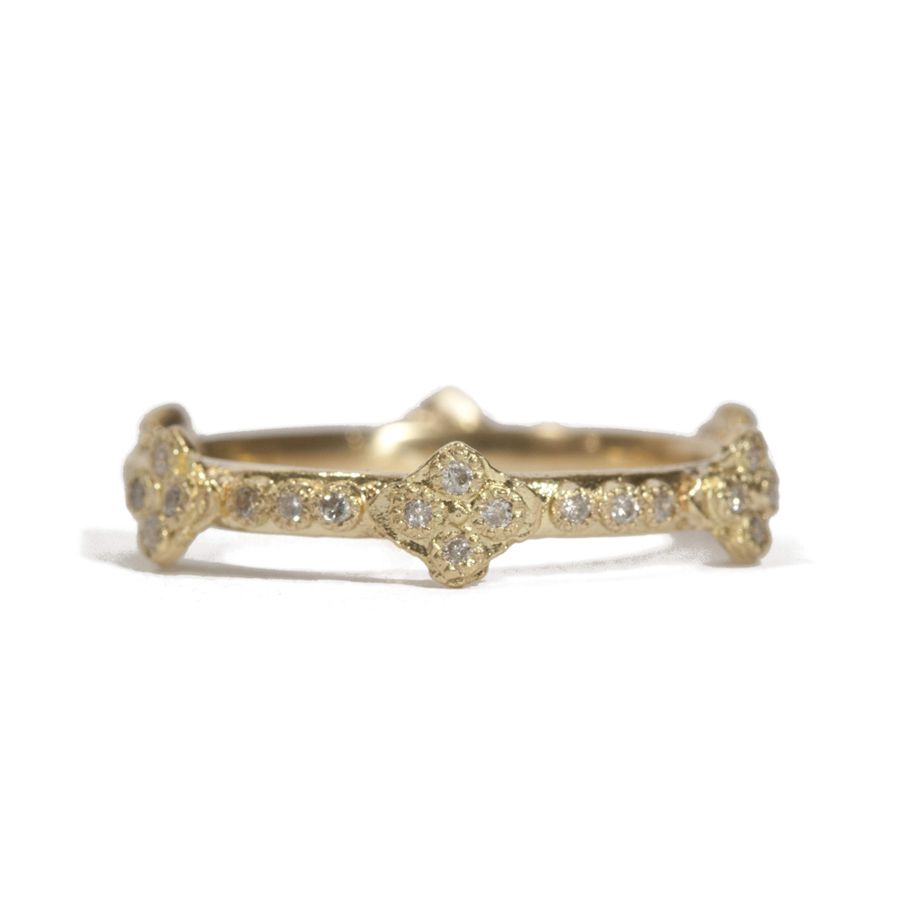 Armenta 18k Yellow Gold Stackable Ring with Diamond Crivelli Crosses k1uMG