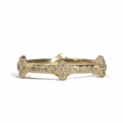 18k Yellow gold crivelli cross stack ring with white diamonds. Diamond Weight  0.168 ct.