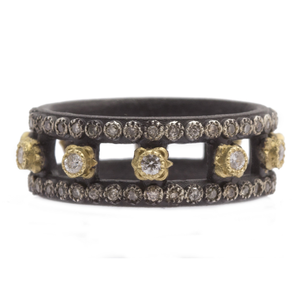 Armenta Old World Blackened Band Ring with Champagne Diamonds pSJd7Qbzjg