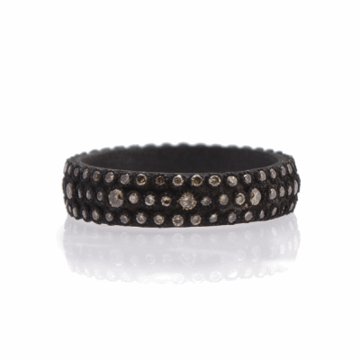 Old World oxidized sterling silver and 18k yellow gold wide multi-eternity stack ring with champagne diamonds. Diamond Weight 0.69ct