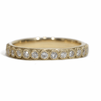 18k yellow gold stack ring with 1.7mm white diamonds.  Diamond Weight 0.54 ct.
