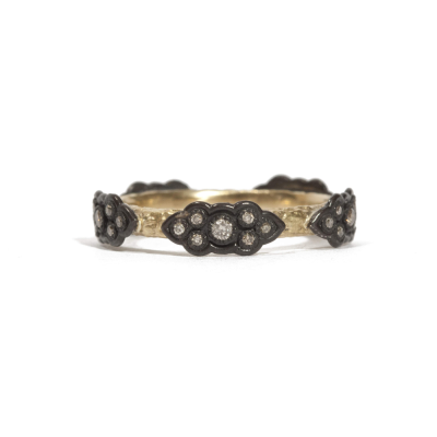 18k yellow gold and blackened sterling silver sculpted scroll stack ring with champagne diamonds.  Diamond Weight 0.245 ct.