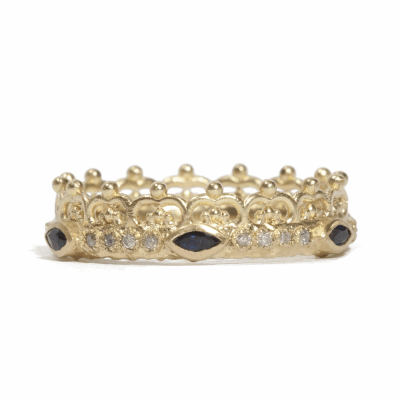 18k yellow goldscalloped half-crown stack ring with white diamonds and blue sapphires. Diamond Weight 0.096 ct.