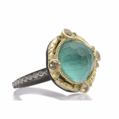 Old World blackened sterling silver and 18k yellow gold 12mm round ring with Malachite/Blue Topaz  doublet, white diamond and white sapphires. Diamond Weight 0.16ct