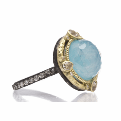 Old World oxidized sterling silver and 18k yellow gold round 12mm Blue Turquoise/Rainbow Moonstone doublet and diamond ring on oxidized sterling silver eternity diamond band. Diamond Weight 0.16ct