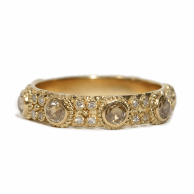 18k yellow gold 3mm rose-cut champagne diamond stack ring with white diamonds.  Diamond Weight 0.9024 ct.