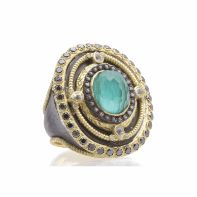 Old World blackened sterling silver and 18k yellow gold oval ring with Malachite/Blue Topaz doublet, white and black diamonds and white sapphires. Diamond Weight 1.15ct