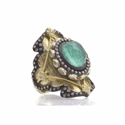 Old World blackened sterling silver and 18k yellow gold Heraldry large shield ring with oval Malachite/Blue Topaz doublet, white sapphires and diamonds. Diamond Weight 0.45ct