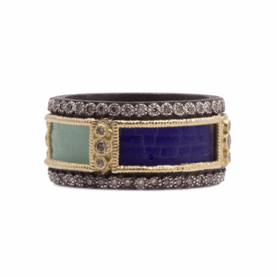 Old World blackened sterling silver and 18k yellow gold wide band ring with scrolls and glass mosaic square tiles and champagne diamonds. Diamond Weight 0.44ct