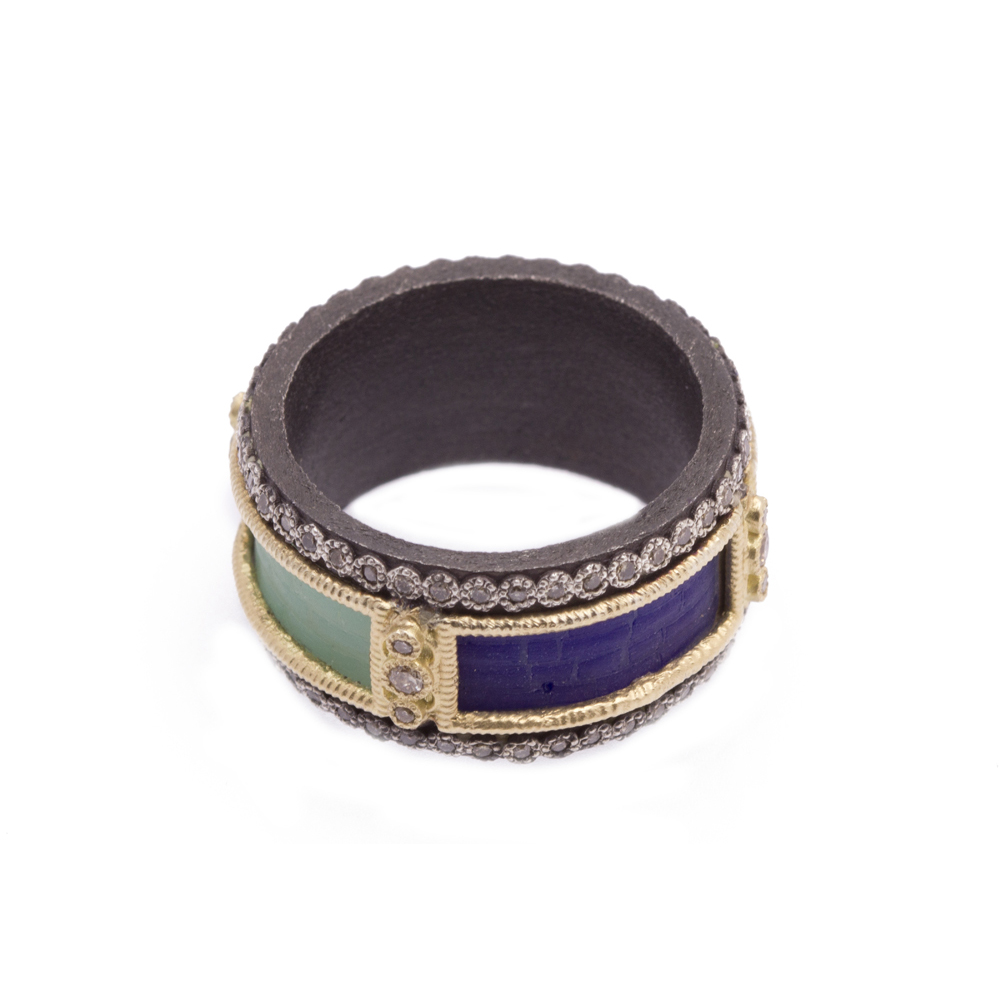 Glass Mosaic Wide Band Ring - 07282 - alternate