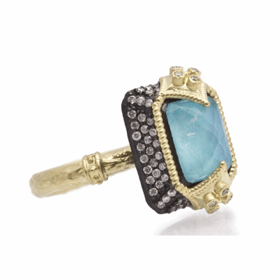 Old World Dulcinea oxidized sterling silver and 18k yellow gold emerald cut stack ring with Blue Turquoise/Rainbow Moonstone doublet and diamonds on a yellow gold sculpted band. Diamond Weight .36...