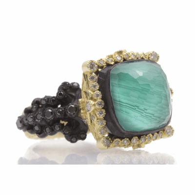 Old World blackened sterling silver and 18k yellow gold cushion-cut Malachite/Blue Topaz doublet ring with white diamond halo and black diamonds. Diamond Weight 0.76ct