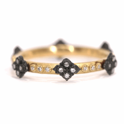 18k yellow gold and blackened sterling silver crivelli stack ring with white diamonds.  Diamond Weight 0.168 ct.